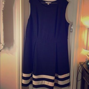 NWT Black Midi Skater Dress with White Stripes